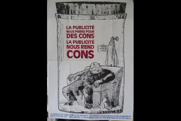 affiche contre la pub, Alternative Libertaire, Bruxelles