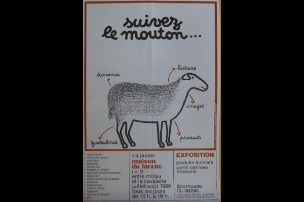 affiche expo mouton Larzac, 1986