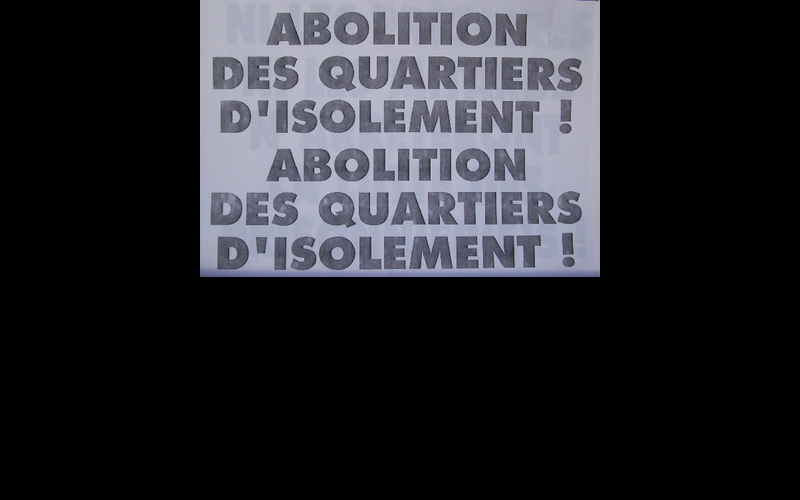 affiche abolition quartiers d'isolement