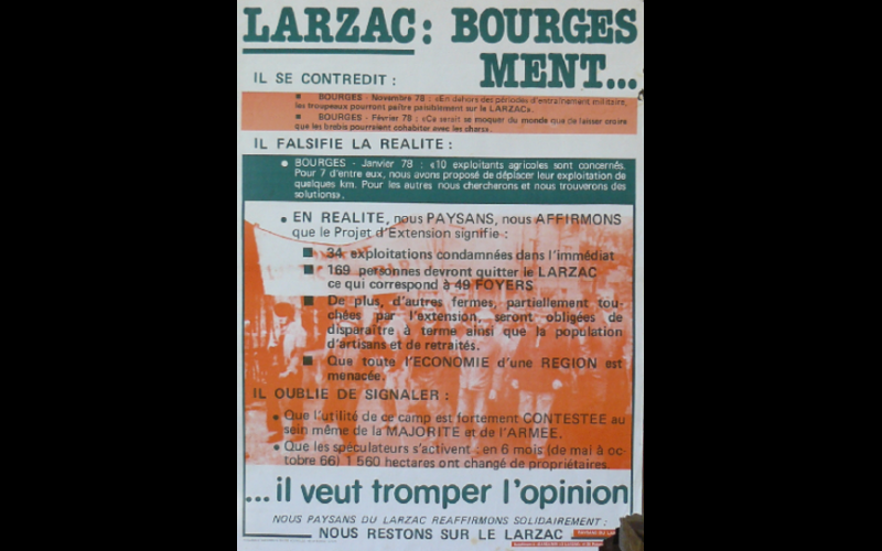affiche Larzac Bourges ment, 1978