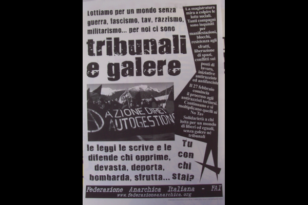 affiche anti-répression, Féderation Anarchiste italienne