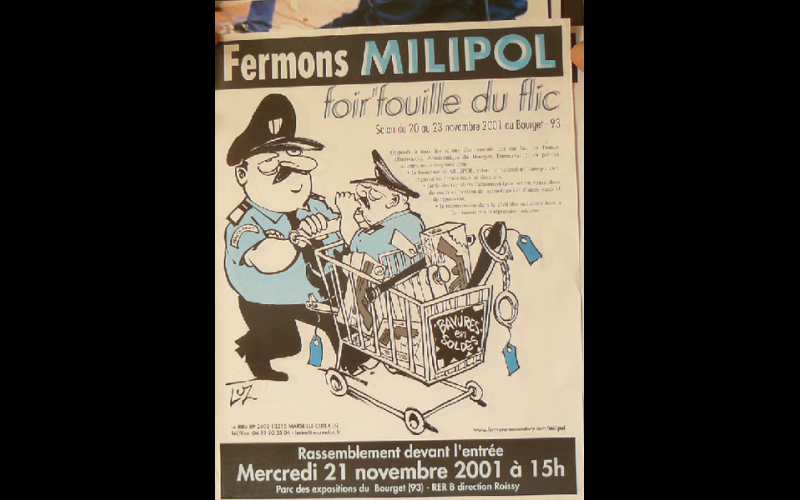 affiche contre salon Milipol, Paris, 2001