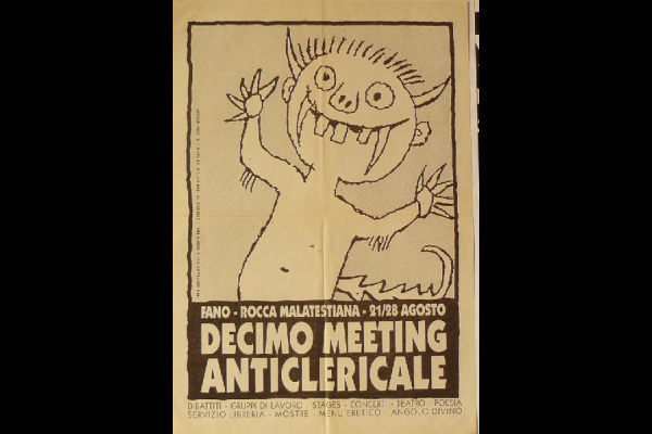 affiche meeting anticlérical, Italie